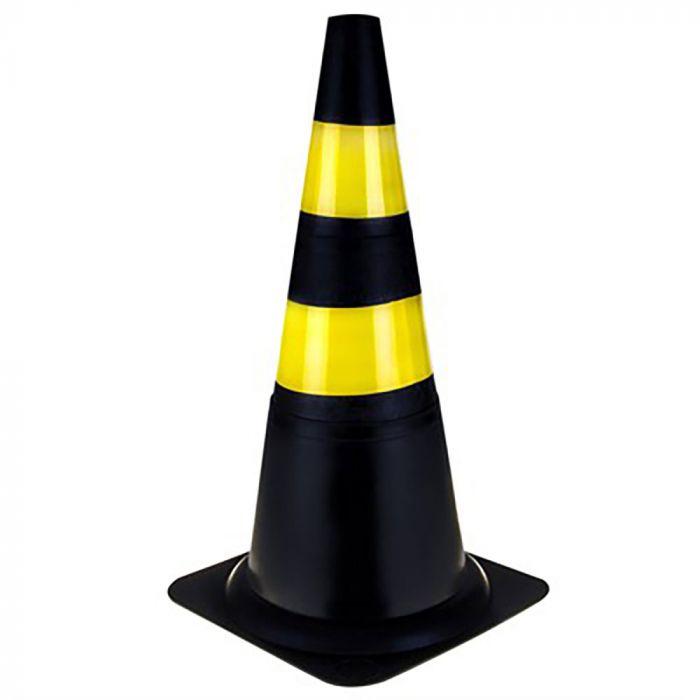 Cone PVC Rigido Preto/Amarelo 75cm - Plastcor