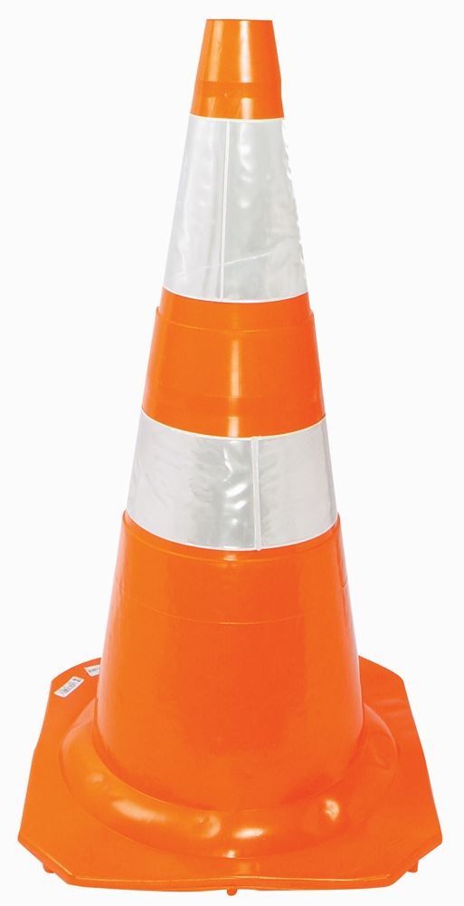 Cone Semi Flexível Laranja/Branco 75cm Refletivo - Plastcor
