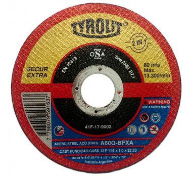 Disco Corte 4.1/2Pol 115mm x 1mm x 22.2mm Secur - Tyrolit