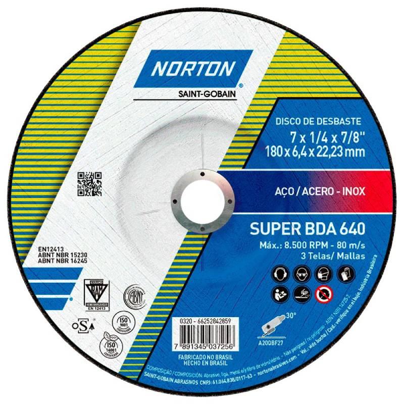 Disco Desbaste 7Pol 180mm x 6.4mm x 22.2mm  Super BDA640 - Norton