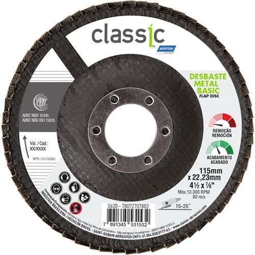 Disco Flap 4.1/2Pol 115mmX22.23mm Classic Basic Grão 40 - Norton