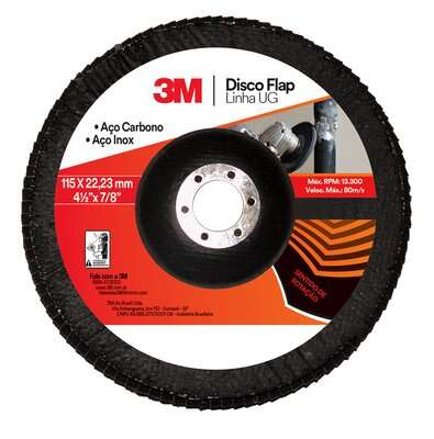 Disco Flap Uso Geral 115mm 41/2Pol Grão 80 - 3M