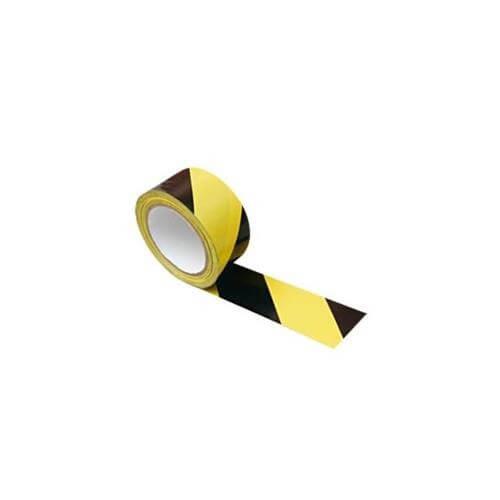 Fita Demarcação de Solo 25mm x 30 Metros Zebrada Amarela C/Preta - GMI