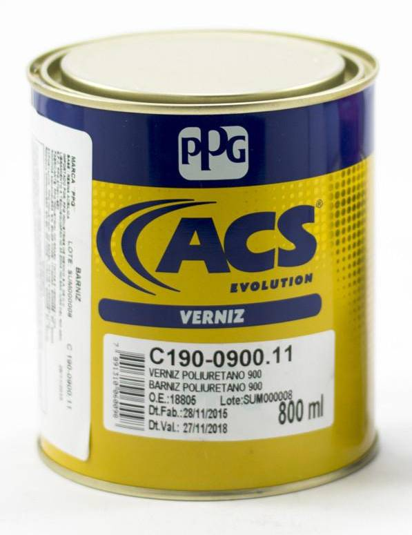 KIT Verniz PU 0900 800ml ACS + Catalisador Endurecedor Para Verniz PU0900 100ML- PPG