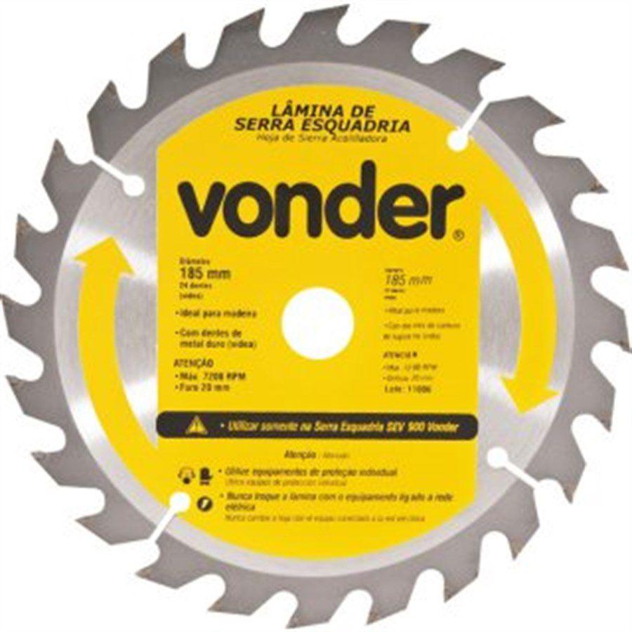 Lâmina de Serra Circular Dentes de Vídea 185mm 24 Dentes - Vonder