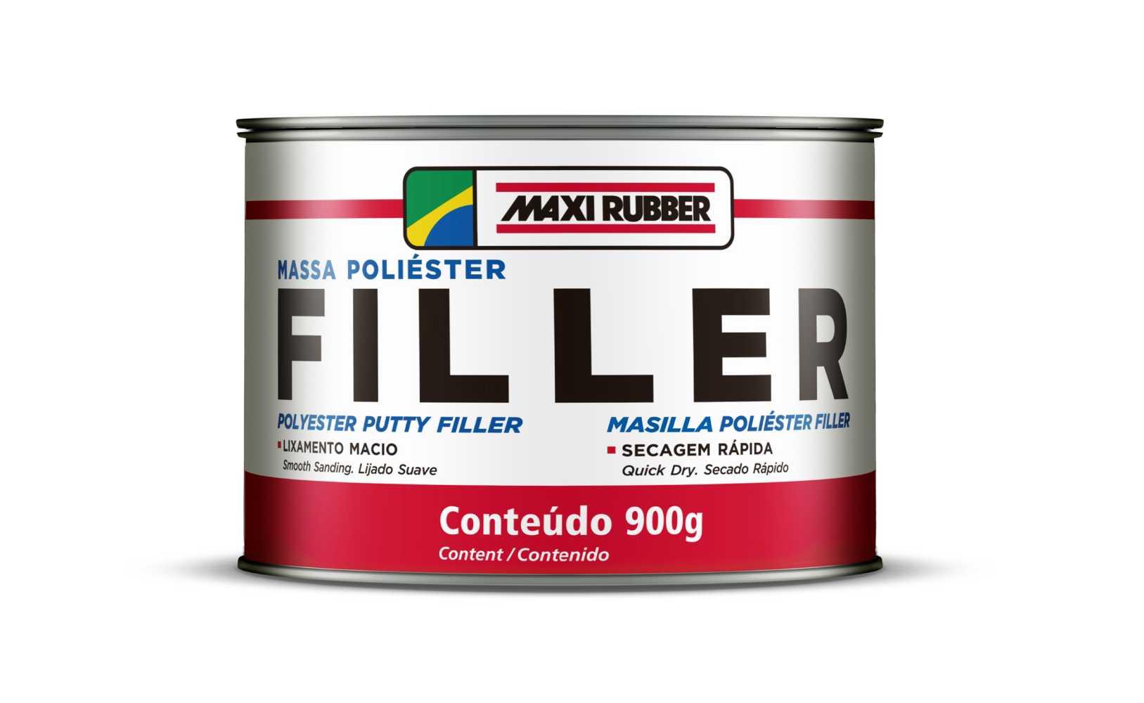 Massa Poliéster Filler Com Catalisador 900g - Maxi Rubber