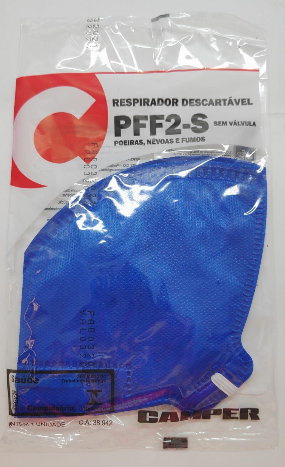 Respirador Descartável Azul PFF2 Sem Valvula CA 38942 - Camper
