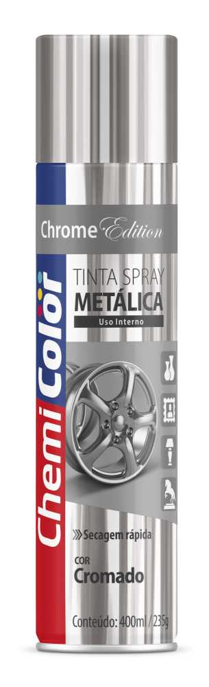 Tinta Spray Metálica Cromado 400ml - Chemicolor