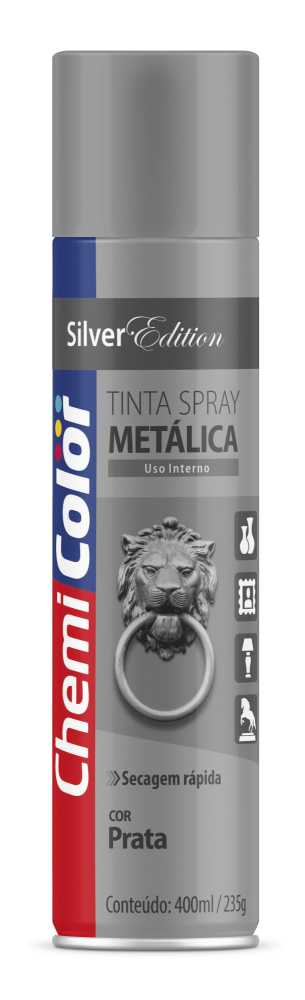 Tinta Spray Metálica Prata 400ml - Chemicolor