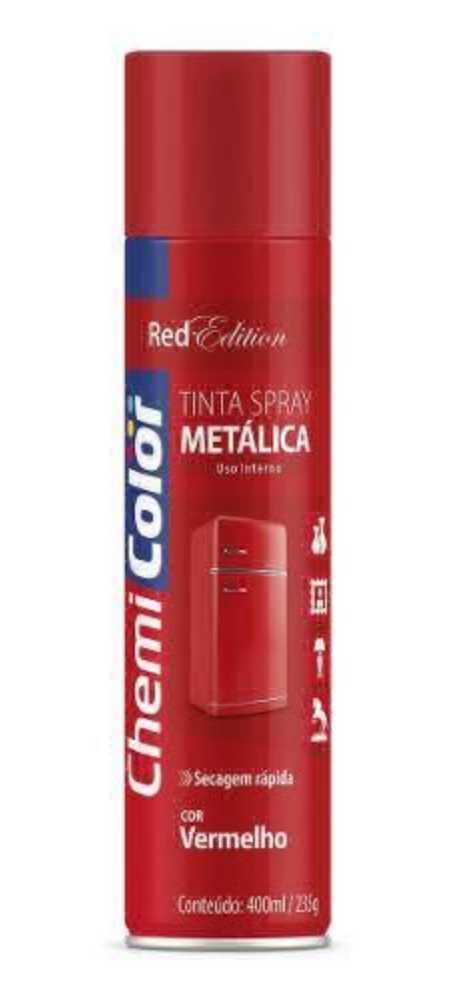Tinta Spray Metálica Vermelho 400ml - Chemicolor