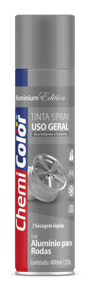 Tinta Spray Uso Geral Alumínio 400ml - Chemicolor