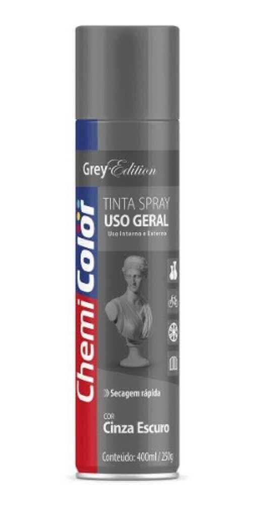 Tinta Spray Uso Geral Cinza Escuro 400ml - Chemicolor