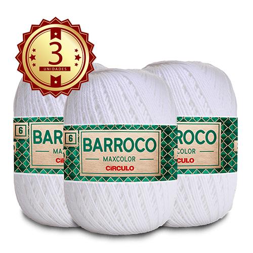 3 Barbante Barroco MaxColor Nº 6 - 200g  Cor: 8001