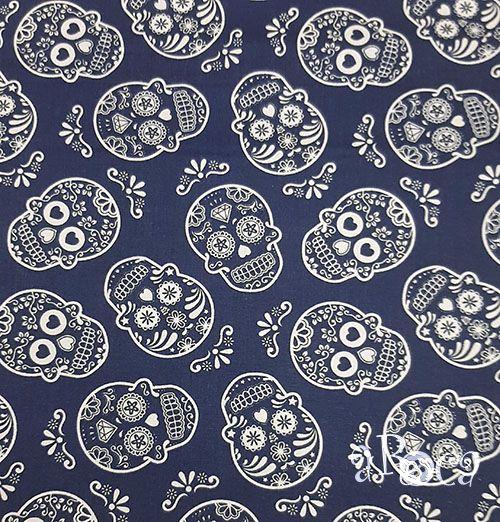 Tecido Tricoline Caveira Mexicana Azul - Branca