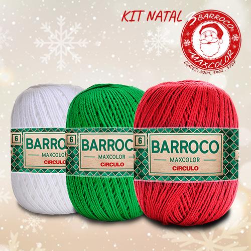 Kit Natal - 3 Barbante Barroco MaxColor Nº 6 - 200g  Cores: 8001- 3402 - 5767