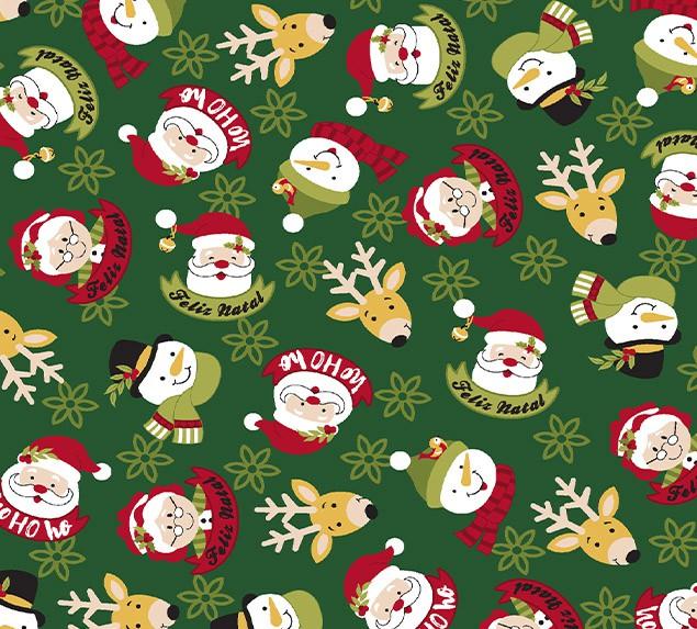 Tecido Tricoline Friends Feliz Natal