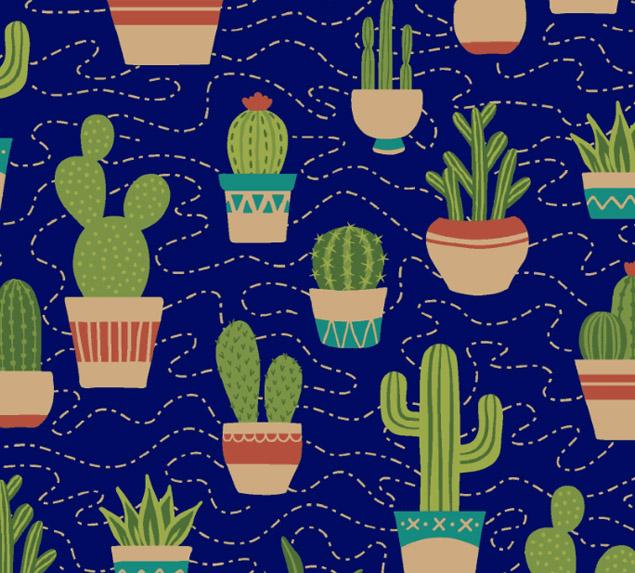 Tecido Tricoline Cactus com Vasinhos