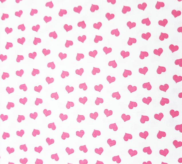 Tecido Tricoline Corações Pequenos Branco e Rosa