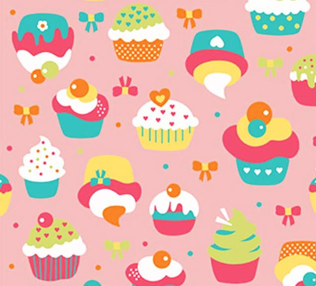 Tecido Tricoline Cupcake Fundo Rosa