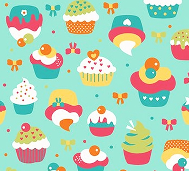 Tecido Tricoline Cupcake Fundo Verde Claro