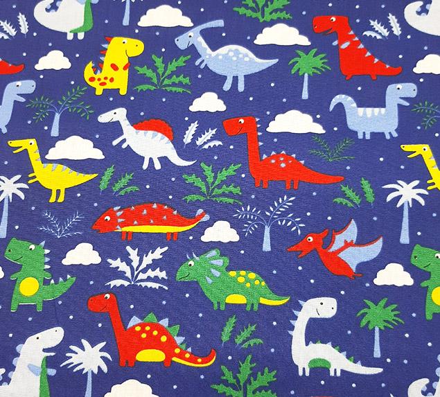 Tecido Tricoline Família Dinossauros