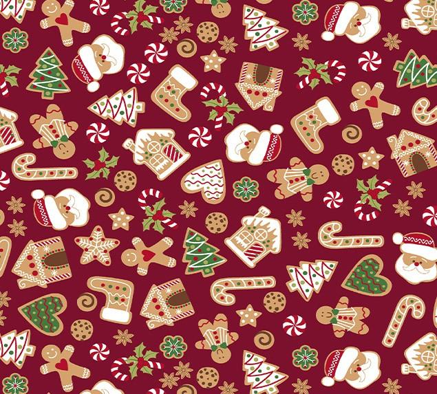 Tecido Tricoline Natal Docinhos Feliz Natal