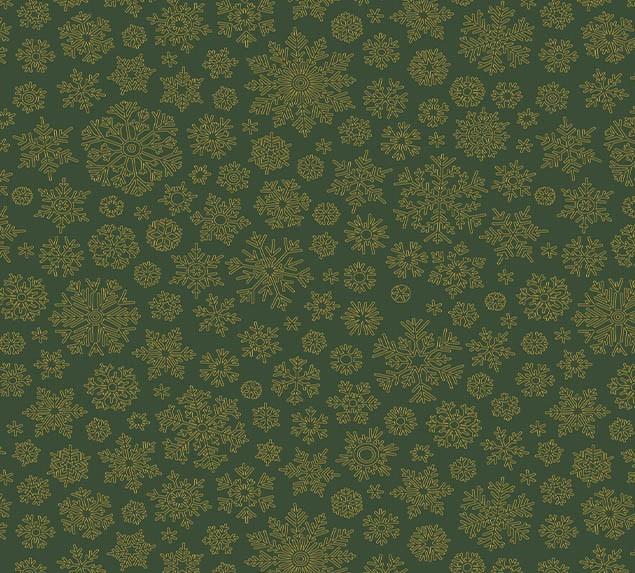 Tecido Tricoline Natal Flocos de Neve Verde