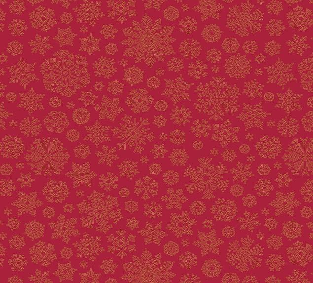 Tecido Tricoline Natal Flocos de Neve Vermelho