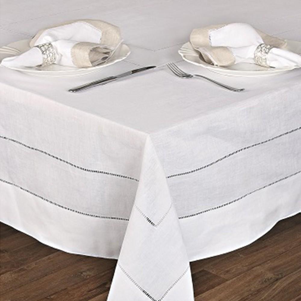 Toalha de mesa quadrada linho Barrado 2,20x2,20m CC   0320031P-0003
