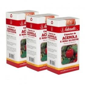 Kit 03 Acerola e Rosa Silvestre Naturalis 80 Cápsulas cada