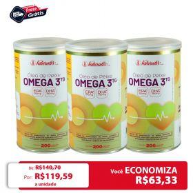 Kit 03 Óleo de Peixe Omega-3 Naturalis 200 Cápsulas cada