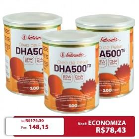 Kit 03 Omega-3 DHA 500 Naturalis 100 Cápsulas cada