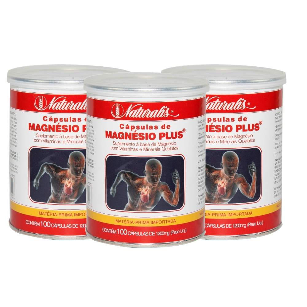 Kit 03 Magnésio Plus® Naturalis 100 Cápsulas cada