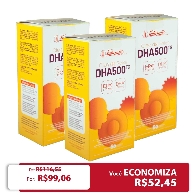 Kit 03 Omega-3 DHA 500 Naturalis 60 Cápsulas cada