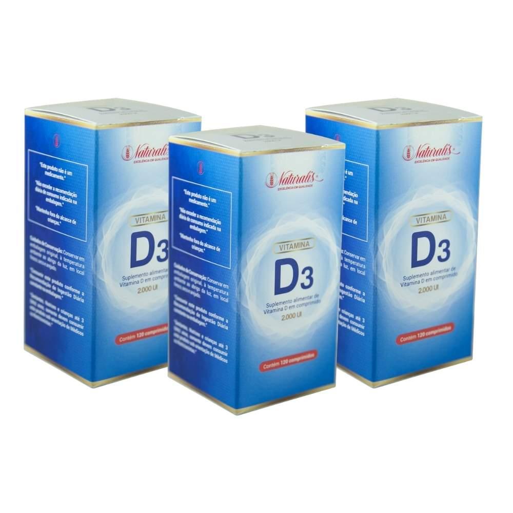Kit 03 Vitamina D3 Naturalis 120 Comprimidos  cada