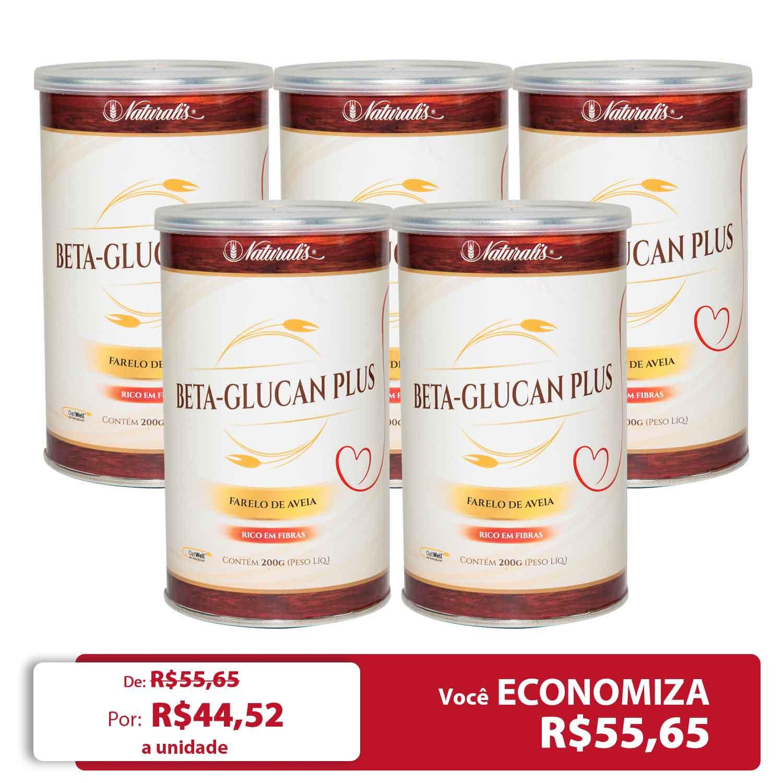Kit 05 latas de Farelo de Aveia Beta-Glucan Plus Naturalis 200g