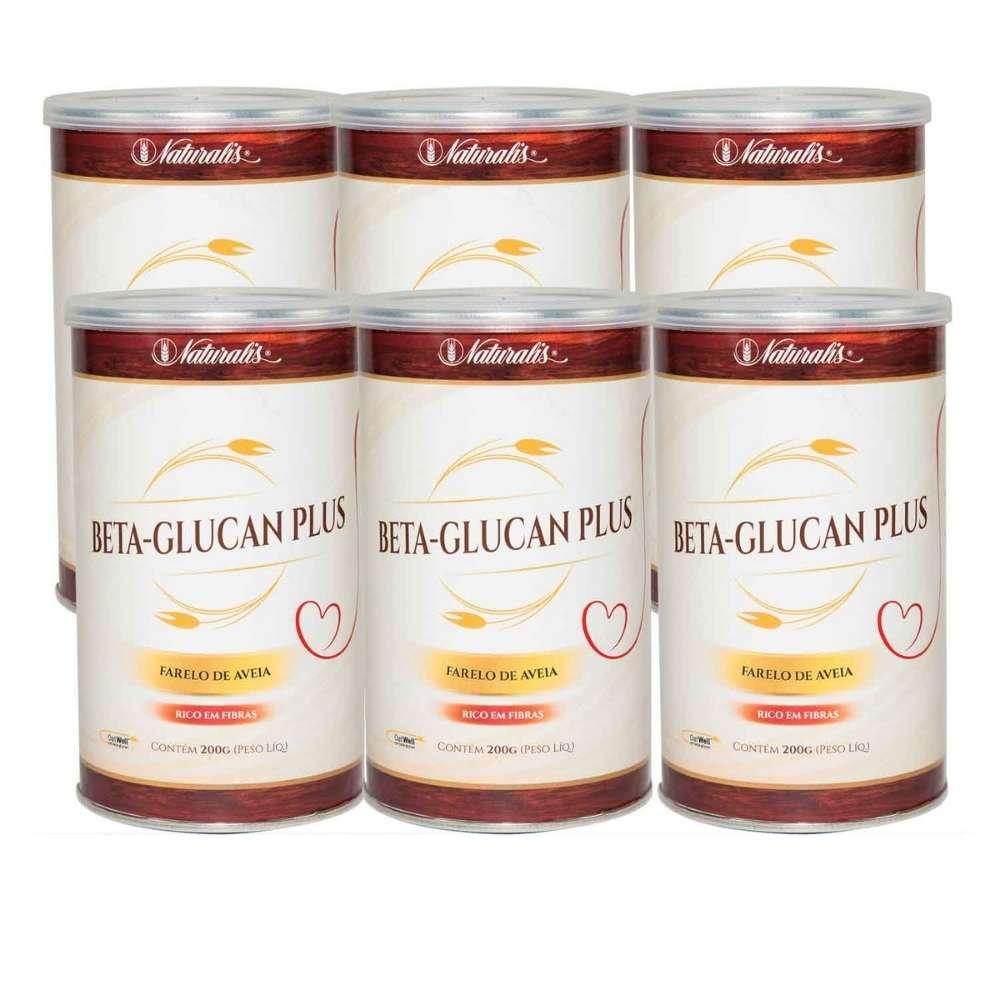 Kit 06 latas de Farelo de Aveia Beta-Glucan Plus Naturalis 200g