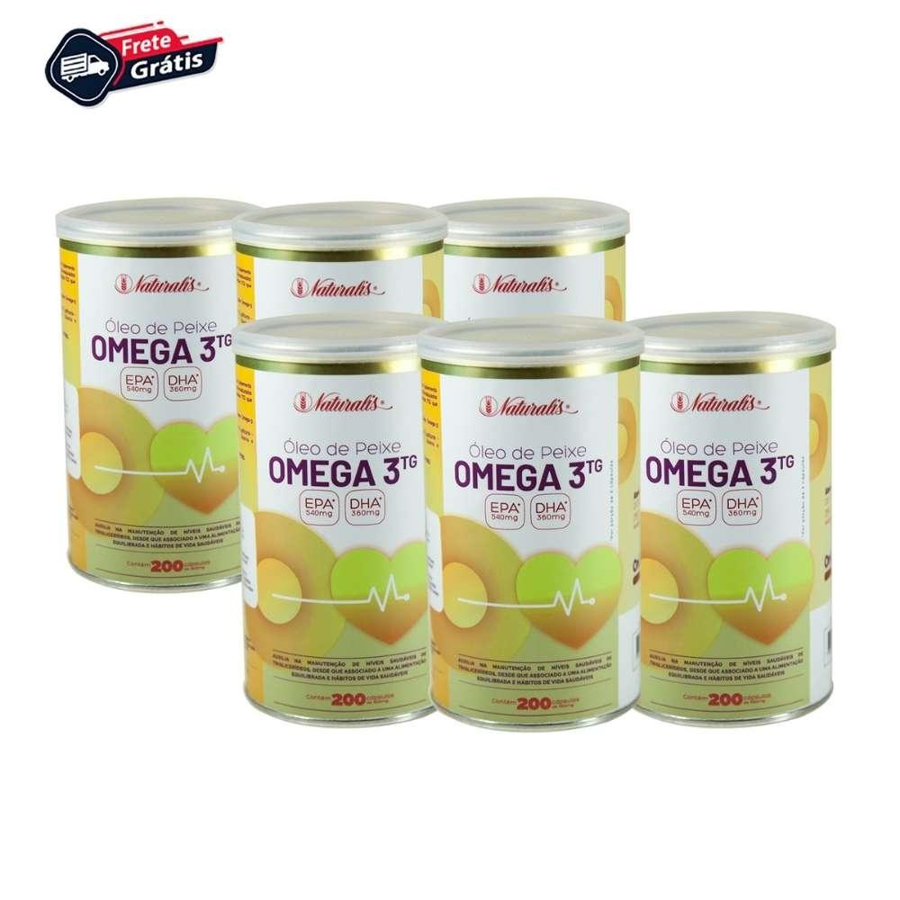 Kit 06 Óleo de Peixe Omega-3 Naturalis 200 Cápsulas cada