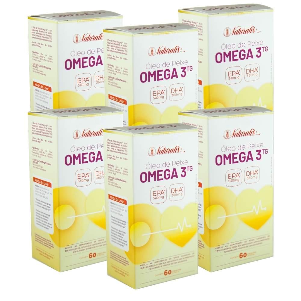 Kit 06 Óleo de Peixe Omega-3 Naturalis 60 Cápsulas