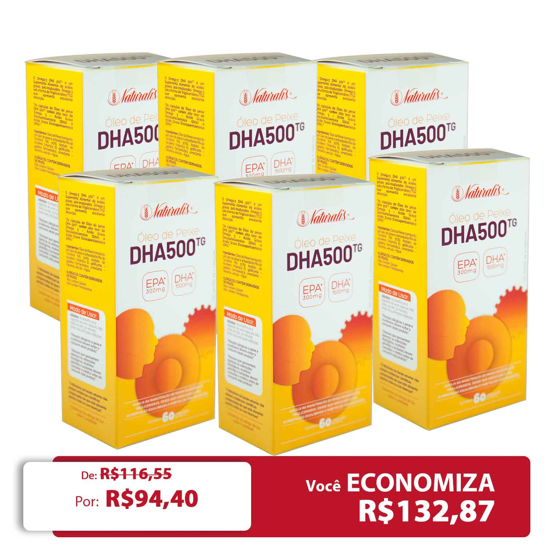 Kit 06 Omega-3 DHA 500 Naturalis 60 Cápsulas cada