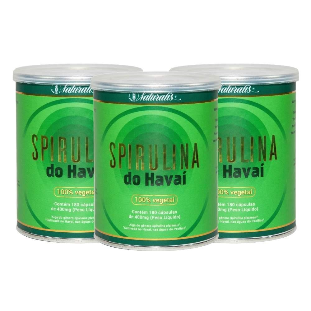 Kit 03 Spirulina do Havai Naturalis 180 Cápsulas cada