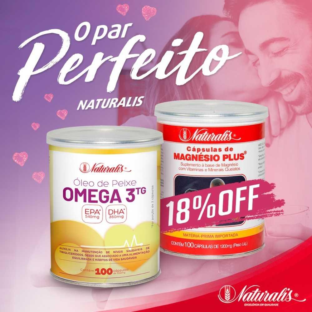 Combo Óleo de Peixe Omega-3 Naturalis 100 Cápsulas + Magnésio Plus® Naturalis 100 Cápsulas