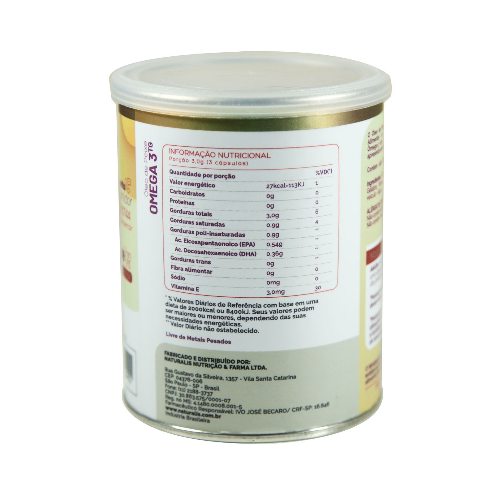 Óleo de Peixe Omega-3 Naturalis 100 Cápsulas