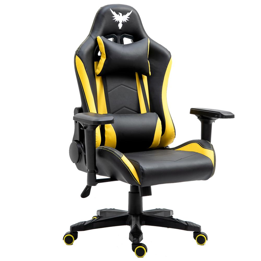 Cadeira Gamer Raven X-10 - Estrutura em metal, braço 4D, encosto reclinável até 180° Preta / Amarela