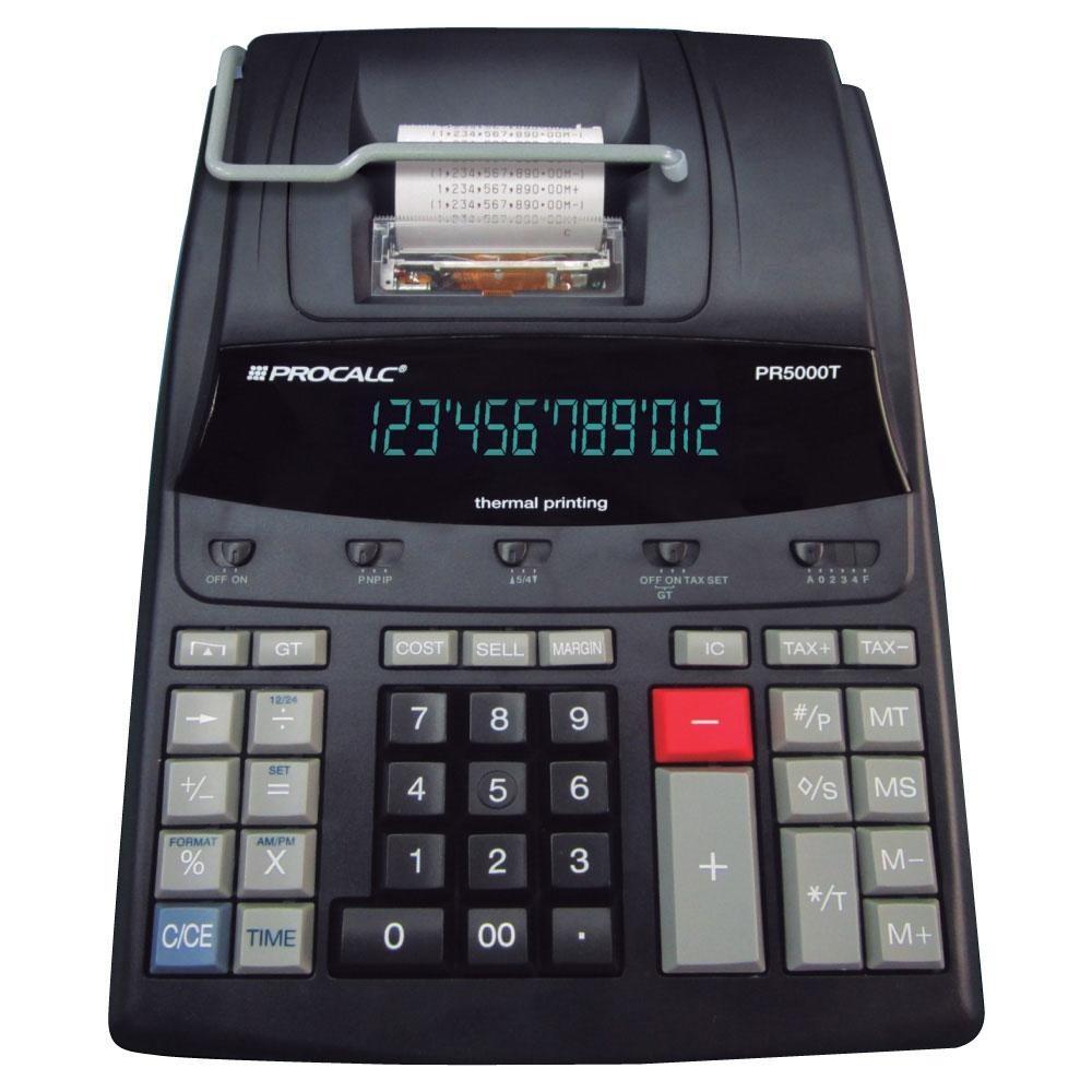 Calculadora de Impressão Térmica Procalc, Uso Contínuo, Profissional, 12 dígitos, Bivolt PR5000T Preta