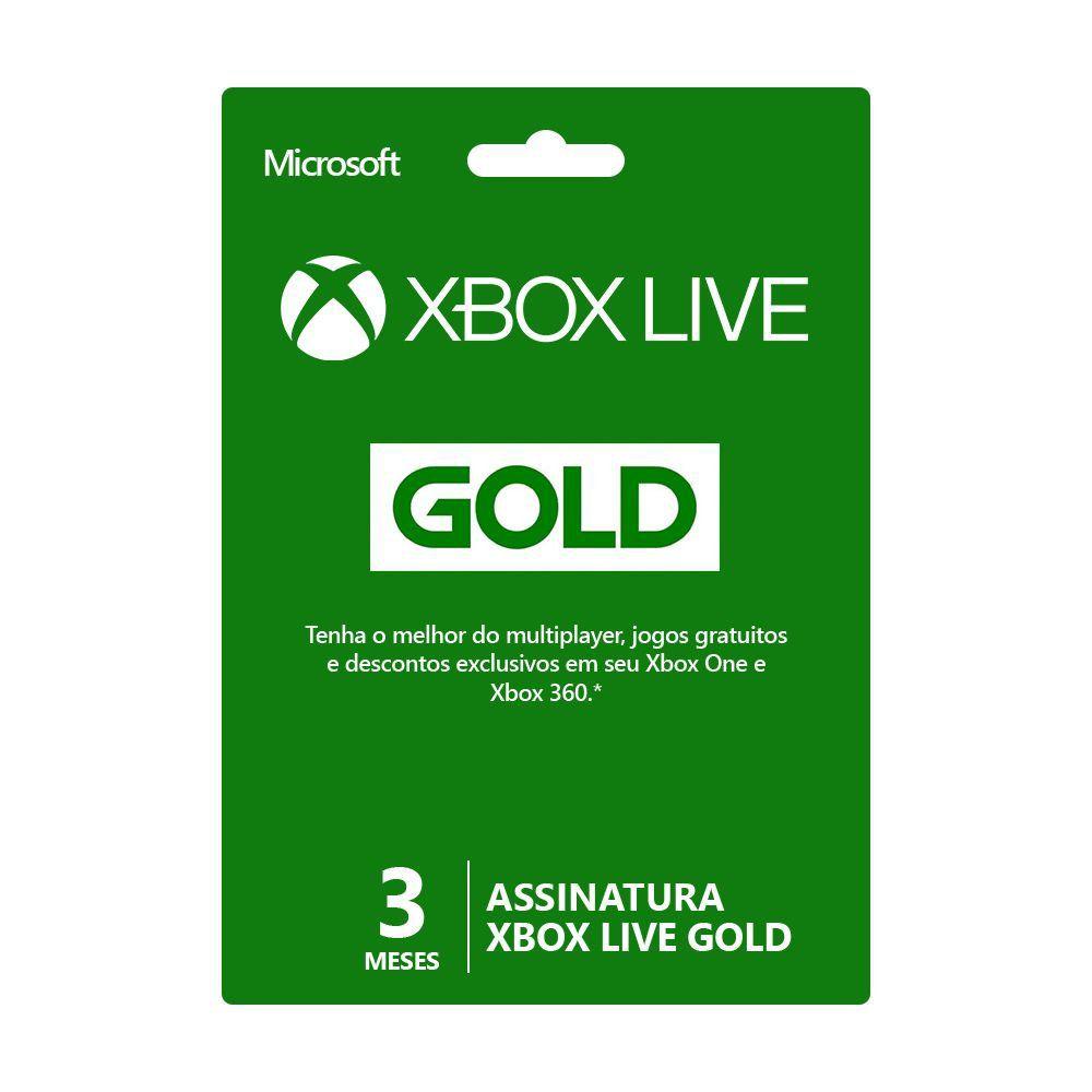 Cartão Digital Xbox Live Gold 3 meses - Microsoft