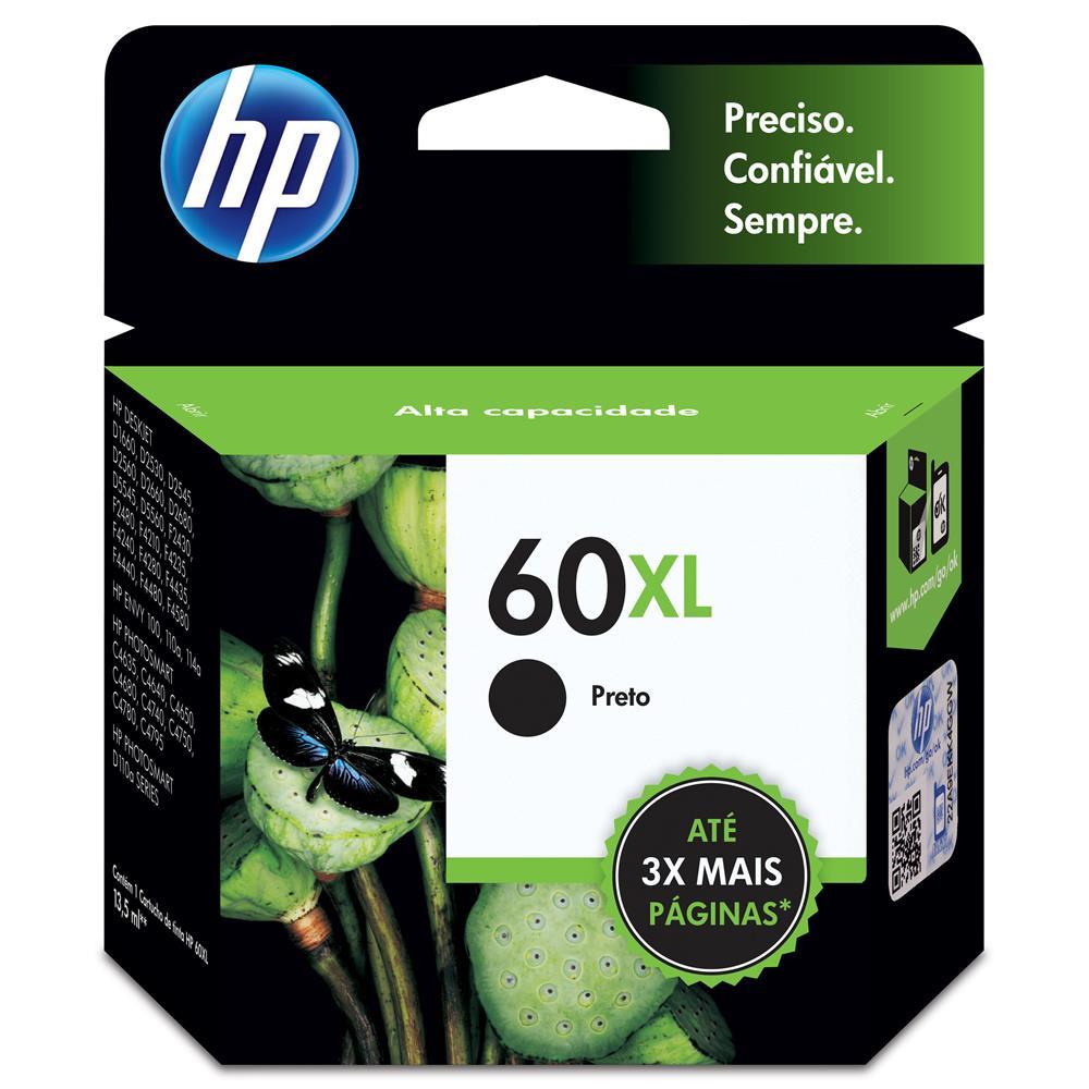 Cartucho de Tinta HP 60XL Preto CC641WB