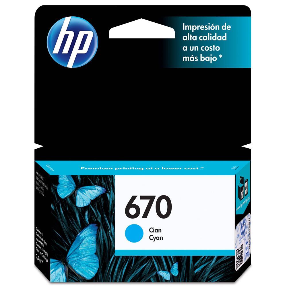 Cartucho de Tinta HP 670 Ciano - CZ114AB