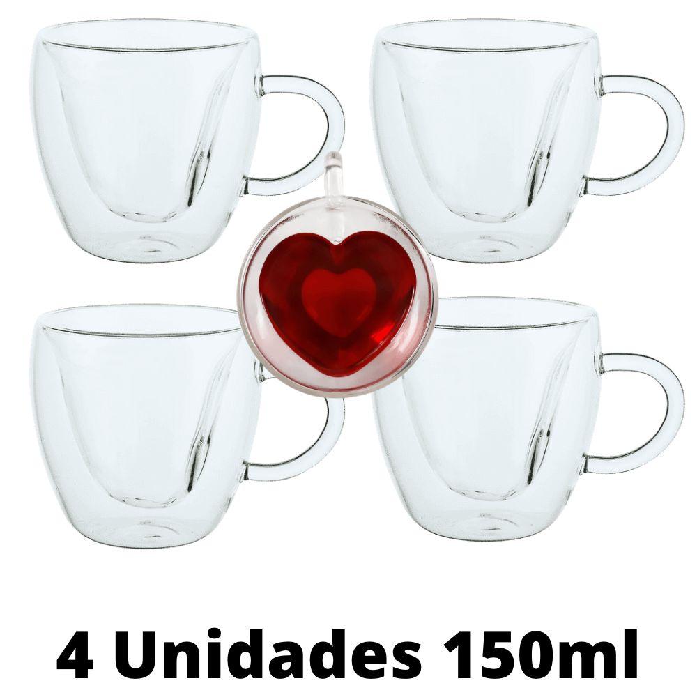 Conjunto de 4 Xícaras de Vidro Duplo Formato Coração 150ml