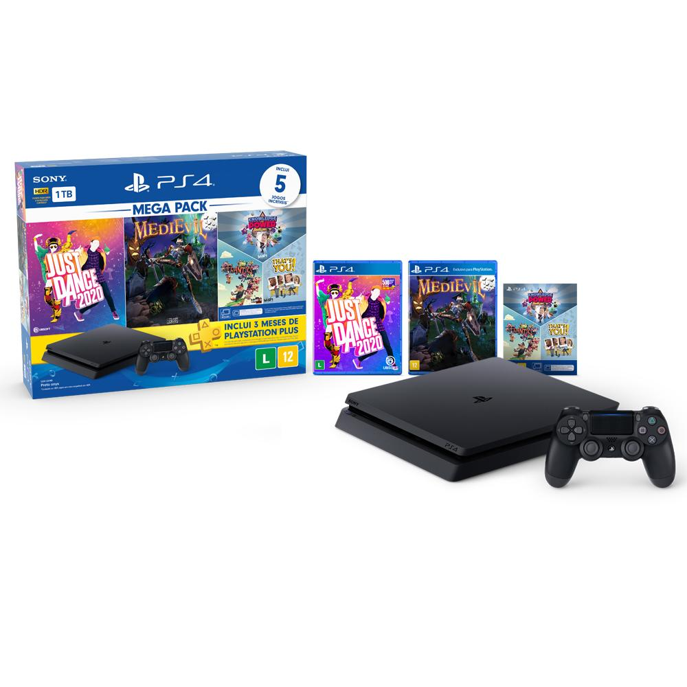 Console Playstation 4 Slim 1TB Bundle 11 + Just Dance 2020 + MediEvil e 3 jogos de PlayLink Knowledge is Power, Frantics e That's You!+ 3 Meses Playstation Plus